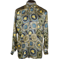 Vintage 1990s Gianni Versace Signature Medusa Baroque Silk Mens Shirt Size Large - Poppy's Vintage Clothing