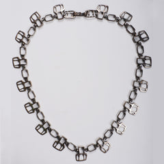Gilles Guy Vidal Brutalist Belt or Necklace Modernist Abstract Pewter 1960s - Poppy's Vintage Clothing