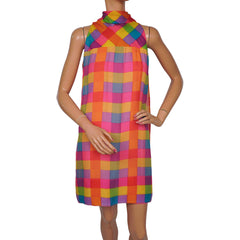 Vintage 1960s Shift Dress Bright Coloured Check Silk Chiffon Gino Charles Size M - Poppy's Vintage Clothing