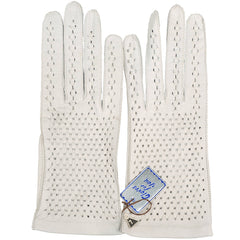 Vintage NWT 1960s Gloves White Lattice Leather Unused with Tag Size 7 - Poppy's Vintage Clothing