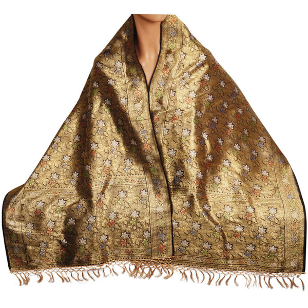Vintage Indian Woven Gold Silk Shawl w Foliate Pattern 1930s Formal Sari Scarf - Poppy's Vintage Clothing