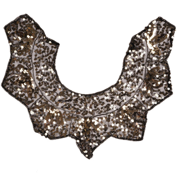 Vintage Gold Sequin Collar 1930s Glamour Accessory Accent - Poppy's Vintage Clothing
