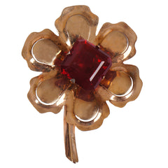 1940s Moderne Gold Vermeil Flower Brooch Sterling Silver Glanco - Poppy's Vintage Clothing
