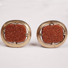Vintage Goldstone Cufflinks Copper Aventurine Glass Gold Tone Setting - Poppy's Vintage Clothing