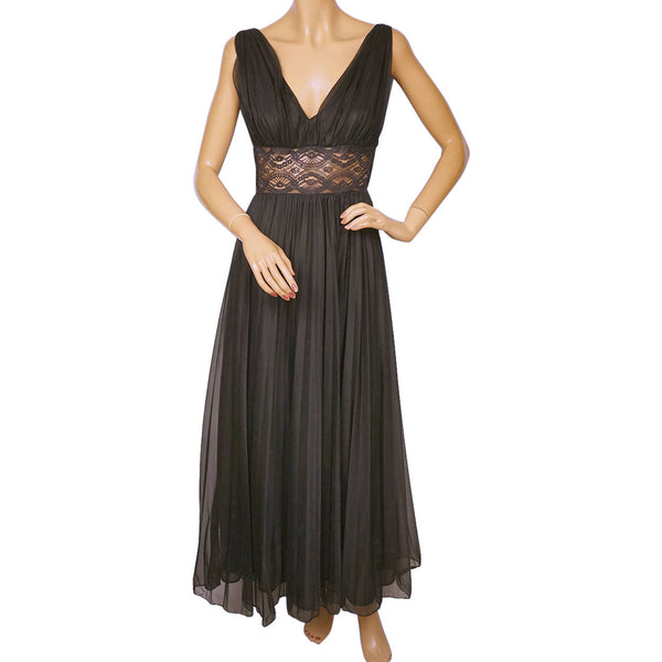 Vintage 1950s Black Nylon and Lace Nightie Gossard Nightgown Size Small - Poppy's Vintage Clothing