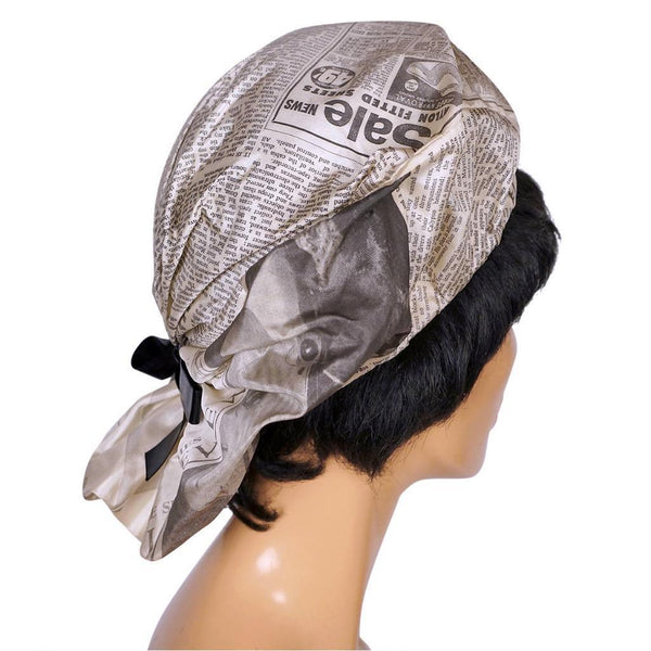 Vintage 1960s Silk Beret Hat - Newspaper Print by Graham Smith - Rare - Poppy's Vintage Clothing