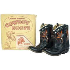 Vintage 60s Acme Cowboy Boots for Children Leather with Box - Poppy's Vintage Clothing
