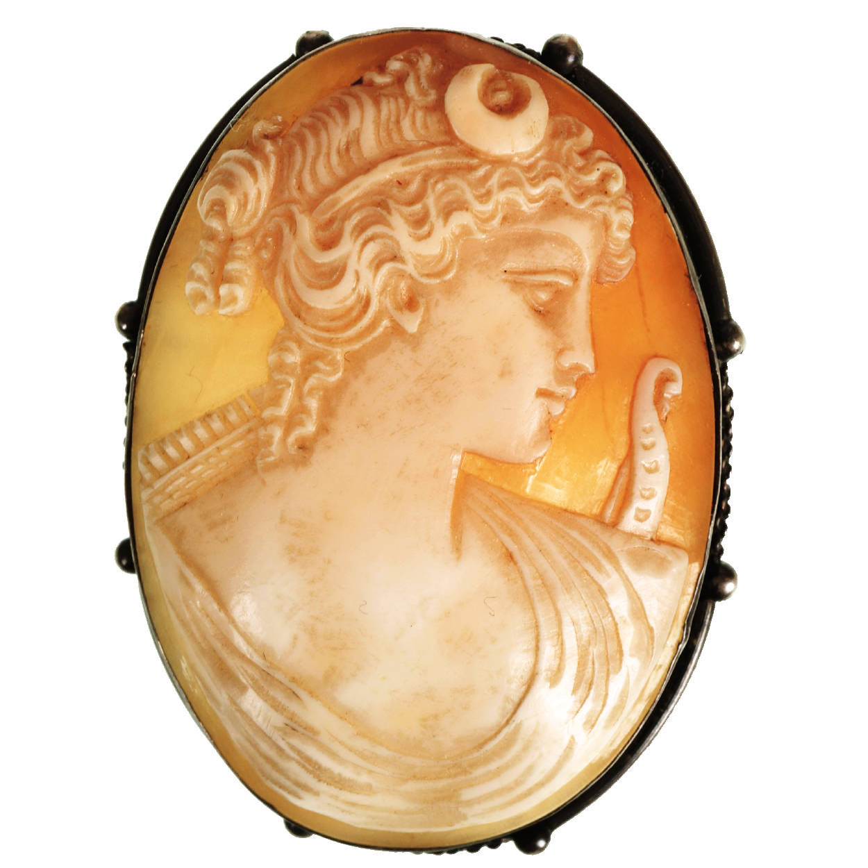 Antique Carved Shell Goddess Cameo Silver Brooch Pendant.