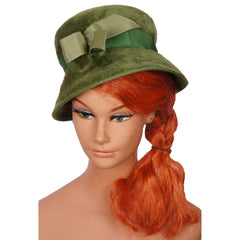 Vintage-60s-Green-Velour-Felt-Bucket-Hat-Front-View