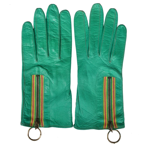 Vintage 1960s Mod Leather Gloves Green with Ring Pull Zipper Ladies Size 6.5 - Poppy's Vintage Clothing