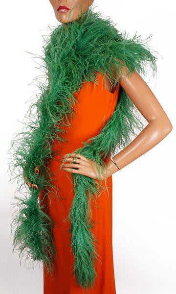 "Vintage Ostrich Feather Boa in Green 165"" Long"