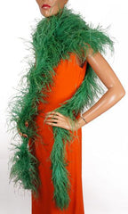 "Vintage Ostrich Feather Boa in Green 165"" Long - Poppy's Vintage Clothing"