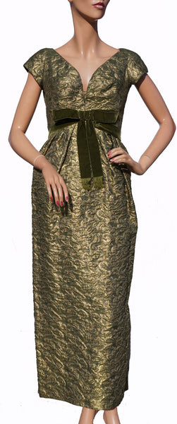Paris Couture 1960s Gold Lame Evening Gown Green Brocade Dress Size S - Poppy's Vintage Clothing