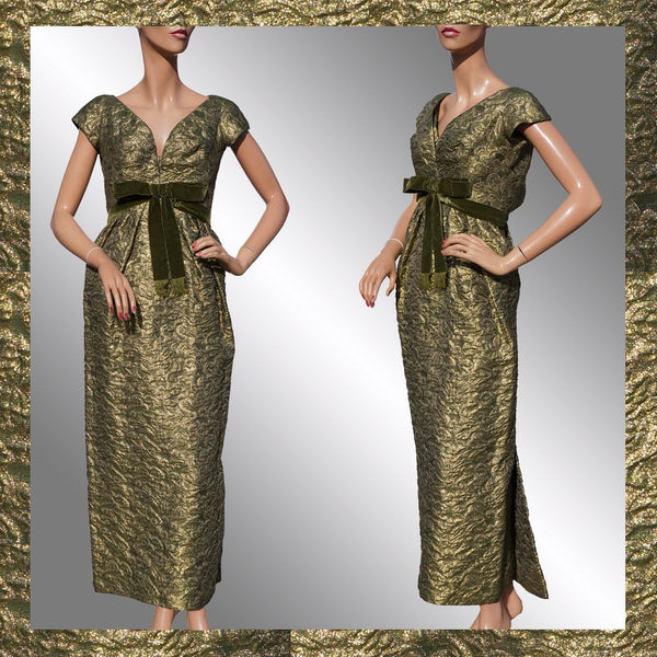 Paris Couture 1960s Gold Lame Evening Gown Green Brocade Dress Size S
