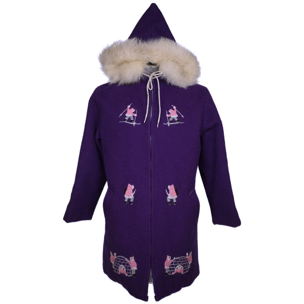 Vintage Eskimo Duffle Parka Coat Grenfell Handicrafts Embroidered Purple Wool L - Poppy's Vintage Clothing
