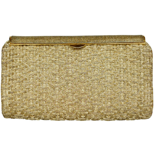 Vintage 1950s 60s Gucci Minaudiere Gold Metallic Basketweave Evening Clutch - Poppy's Vintage Clothing