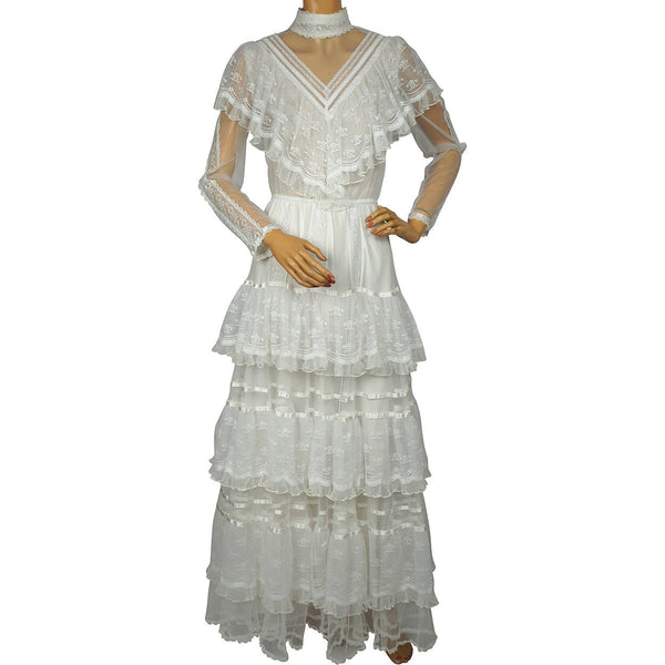 Vintage 1980s Gunne Sax Wedding Dress Boho Romantic Renaissance Bridal Collection - Poppy's Vintage Clothing