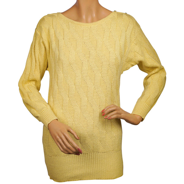 Vintage 1980s Guy Laroche Sweater Yellow Cotton Flax Size Small 36 - Poppy's Vintage Clothing