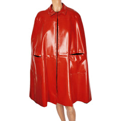 Vintage 1960s Mod Red Vinyl Cape Maria Carine Couture Guy Laroche Paris Design - Poppy's Vintage Clothing