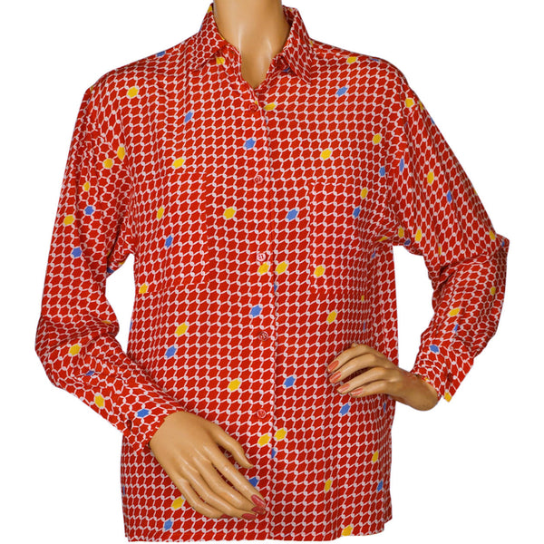 Vintage 1970s Guy Laroche Silk Blouse Red Pattern Print Ladies Size Small 4 - Poppy's Vintage Clothing