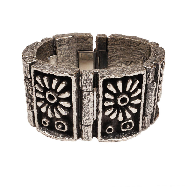 Massive Brutalist Gilles Guy Vidal Daisy Cuff Bracelet Modernist Plated Pewter Unused - Poppy's Vintage Clothing