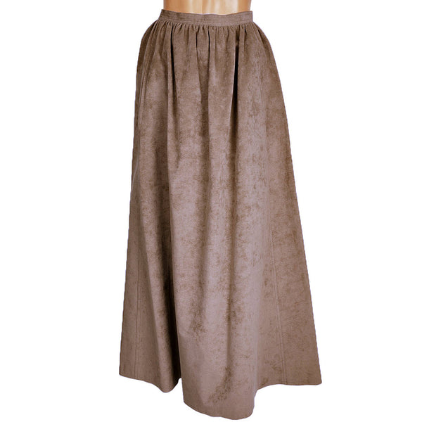 Vintage 1970s Halston Ultrasuede Taupe Maxi Skirt - Poppy's Vintage Clothing
