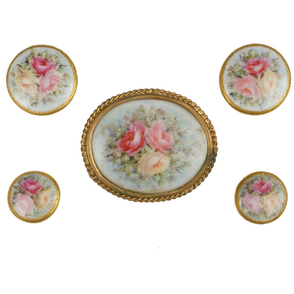 Antique Limoges Porcelain Hand Painted Roses Stud Buttons and Sash Buckle - Poppy's Vintage Clothing