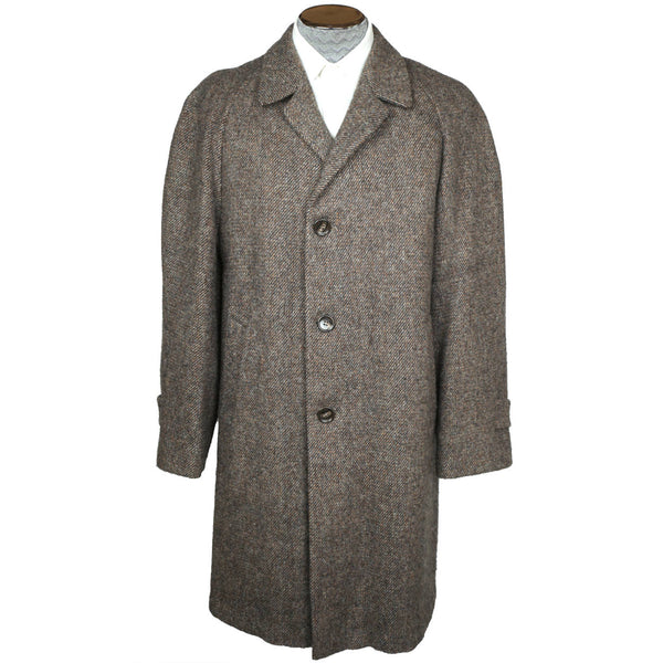 Vintage 1960s Harris Tweed Overcoat Size Mens Coat Size Medium - Poppy's Vintage Clothing