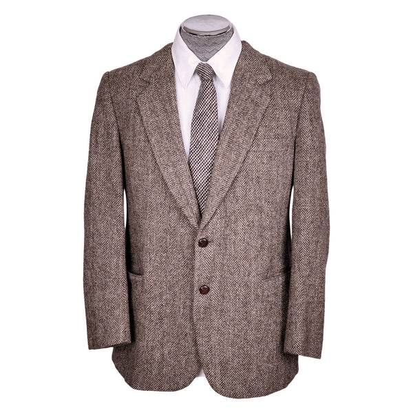 Vintage Harris Tweed Mens Jacket Herringbone Wool Sport Coat - Size 44 R - Poppy's Vintage Clothing