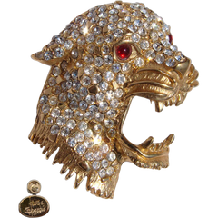 Vintage Hattie Carnegie Brooch - Rhinestone & Gold Toned Leopard Head - Poppy's Vintage Clothing