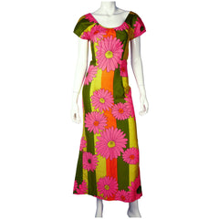 Vintage Hawaiian Dress Pink Floral Maxi Length 1960s Size M - Poppy's Vintage Clothing