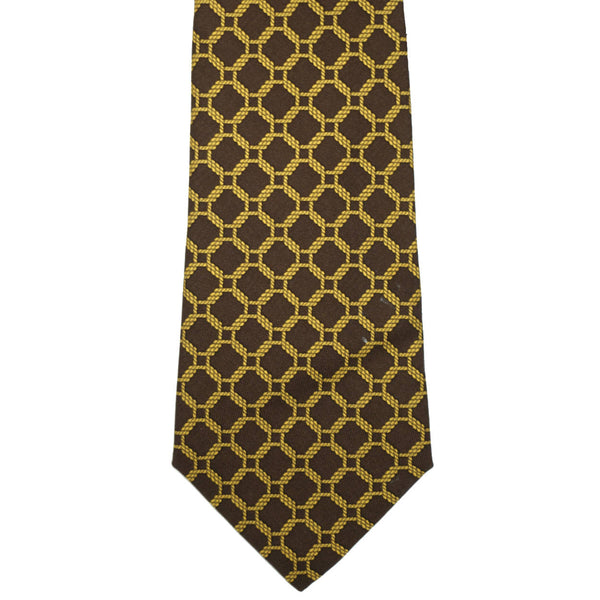 Vintage Hermes Tie Silk Twill 7218 UA Rope Chain Pattern Brown Gold Mens Necktie - Poppy's Vintage Clothing