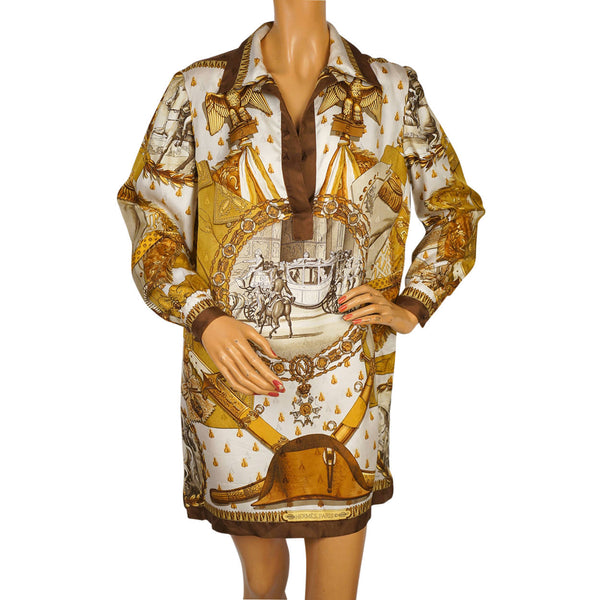 1960s-Hermes-Paris-Napoleon-Ledoux-Silk-Shirt-Dress
