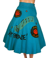 50s Hit Parade Records Felt Circle Skirt