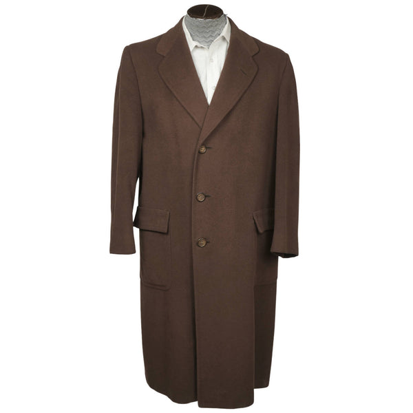 Vintage 1950s Cashmere Mens Overcoat Holt Renfrew Brown Colour Coat Large - Poppy's Vintage Clothing