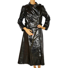 Vintage 1960s Mod Black Patent Leather Coat Holt Renfrew Made in Italy Size S M - Poppy's Vintage Clothing