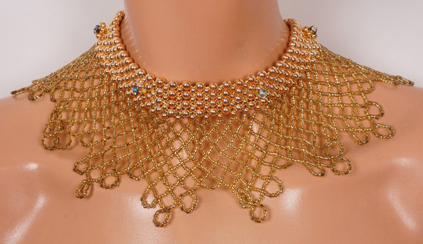 Beaded Necklace Collar 1960s Gold Beads