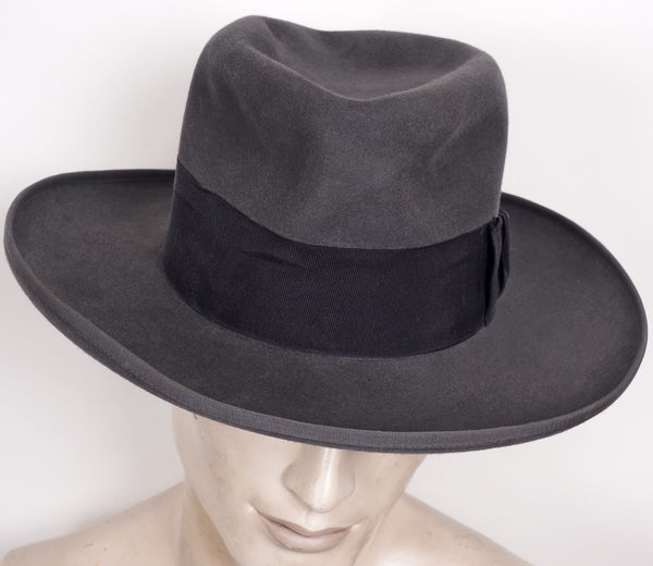 1930s Wide Brimmed Fedora by Huckel Czechoslovakia Gray Mens Hat 7 1/4 - Poppy's Vintage Clothing