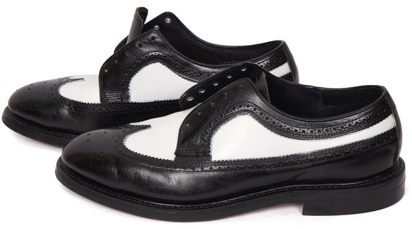 Vintage 80s Mens Wingtip Shoes Black & White Leather Hy-Test Safety - 8.5 - Poppy's Vintage Clothing