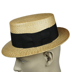 Vintage 1920s 30s Straw Boater Hat Mens Size Small - Poppy's Vintage Clothing