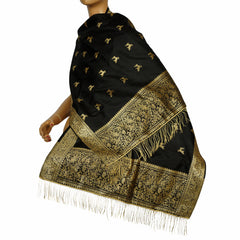 Vintage Indian Black Silk Shawl Woven With Gold Formal Sari Scarf Mundai - Poppy's Vintage Clothing