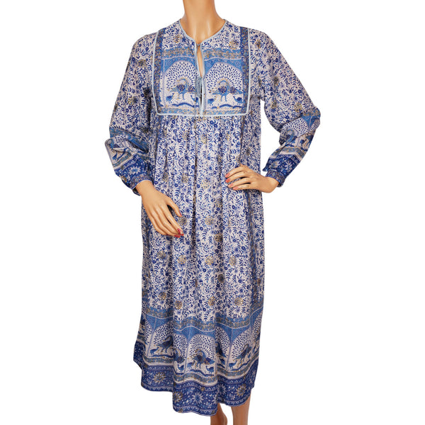 Vintage Hippie 70s Indian Cotton Gauze Dress Printed Peacock Unused NOS Small
