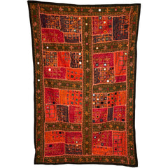 Vintage Indian Banjara Wall Hanging Mirrored Throw Kutch Embroidery