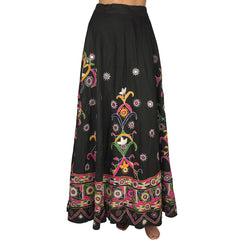 Vintage-1960s-Indian-Mirrored-Embroidered-Cotton-Skirt