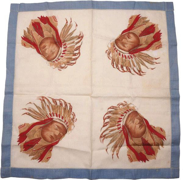 Antique Indian Chief Handkerchief Printed Linen Hankie Native American - Poppy's Vintage Clothing