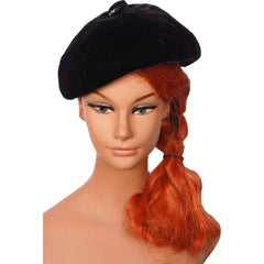Vintage Irene of New York Black Velvet Beret Hat Lord & Taylor Salon Ladies Size S / M - Poppy's Vintage Clothing