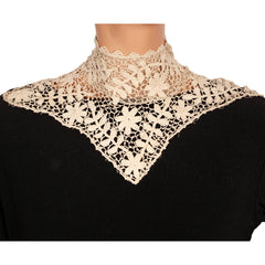 Antique-Edwardian-Irish-Crochet-Lace-Collar-Posed