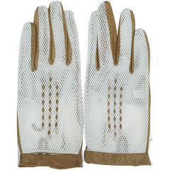 Vintage-1960s-Italian-White-Mesh-Brown-Leather-Gloves