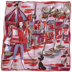Vintage 1950s Pocket Scarf or Head Square Paris Scene Italian Acetate Pochette - Poppy's Vintage Clothing