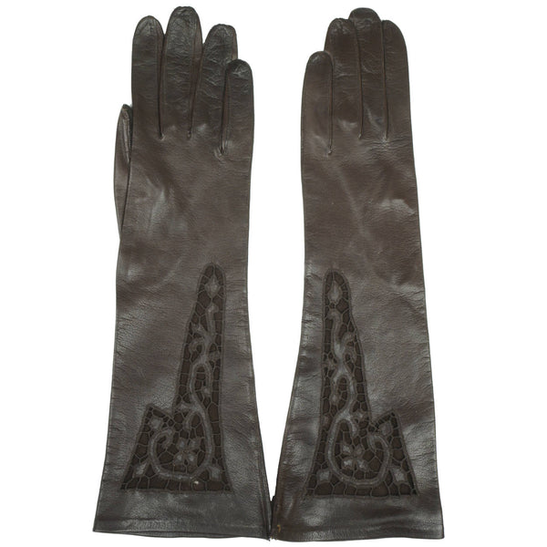 Vintage NOS Ladies Brown Leather Long Evening Gloves Unused Lace Inset Cutwork - Poppy's Vintage Clothing